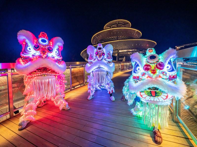 广州名胜风景舞狮